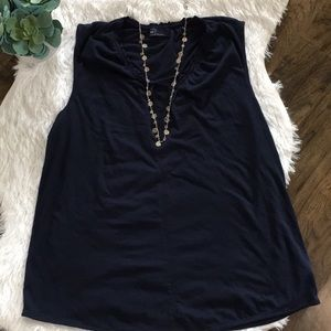 Gap blue vneck sleeveless top size large